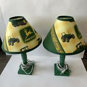 Vintage John Deere Tractor Table Lamp With Shade Set Of 2