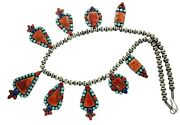 Native American Jewelry Spiny Oyster Shell Lapis Coral Necklace Navajo Handmade