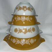 Vintage Pyrex Butterfly Gold Set Of 4 Mixing Nesting Bowl Set 444, 443, 442, 441