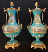 Sevres Early 19th C Pair Of Porcelain Gilt Bronze Lidded Urns