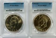 1973 P And D Eisenhower Ike Dollars Pcgs Ms65 2 Coin Set