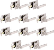 Gobrico 10 Pack Square Door Handles With Lock For Bed Bath Interior Privacy Door
