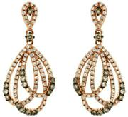 1.02ct White And Mocha Diamond 14kt Rose Gold Multi Row Tear Drop Hanging Earrings