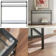 Bella 42 In. Aged Bronze/clear Standard Rectangle Glass Console Table With Stora