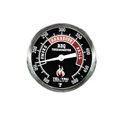 Tel-tru Bq300 Barbecue Thermometer 3 Inch Black Dial With Zones 2.5 Inch St...