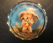 Vtg. Authentic Hummel Cut Glass Paperweight Boy And Girl Under The Umbrella