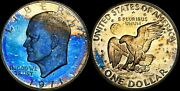 1971-s Eisenhower Silver 1 Dollar Proof Multi Color Toned Coin High Grade