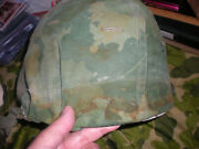 Vietnam Early Issue Helmet Set Ww2 Front Seam Shell1968 Liner1965 Camo Cover