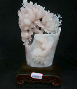 18.8 Chinese Natural Xiu Pink Jade Carving Subshrubby Peony Flower Birds Statue