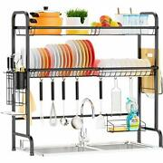 Over The Sink Dish Drying Rack 2 Tier Large Premium 201 Stainless Black_702