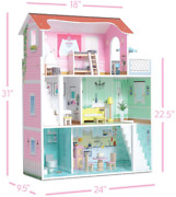 Milliard Wooden Doll House, Includes 20 Furniture Pieces - Large Three Level Dol