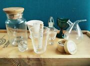 Antique Vintage Glass Bottles Containers Flasks And Green Glass Eyewash - 10 Items