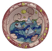 Susan Bolt Sailing Water Scene Large 12andrdquo Bowl Pink Blue Hand Painted Art Pottery