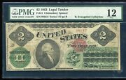 Fr. 41 1862 2 Two Dollars Legal Tender United States Note Pmg Fine-12