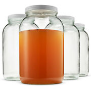 Wide Mouth 1 Gallon Clear Glass Jar Metal Lid With Airtight Liner Multi Use Jar