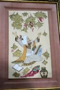 Artist Signed Antique Persian Holy Man Quran Grapes Miniature Painting Plaque