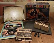 Vintage Lite-brite 1967 Disney Patterns Extra Pages 4 Boxes Pegs Works Well
