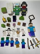 Lego Minifigures Minecraft Lot Skeletons, Weapons, Zombie, Cow, Pirate And More