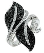 Wide 1.4ct White And Black Diamond 14k White Gold Double Leaf Criss Cross Fun Ring