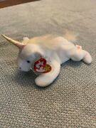 Mystic Unicorn Ty Beanie Baby White With Iridescent Horn Pastel Fine Mane/tail