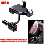Cell Phone Dual Usb Qc3.0 Car Charger Cigarette Lighter Bluetooth Charger Holder