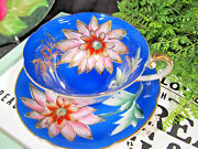 Trimont Occupied Japan Tea Cup And Saucer Teacup 3 Legged Footed Painted Floral