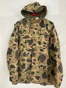 Rare 50s/60s Vintage Canvas Hunting Jacket Duck Camo Corduroy Hood Game Pouch M