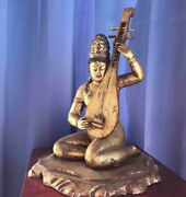 Statue Of Benzaiten Carved In Wood With Gold Leaf Antique Ornament From Japan