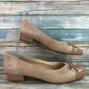 Ros Hommerson Tawnie Womens Taupe Leather Dress Pumps Shoes Cap Toe Size 12n