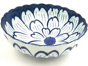 Pier 1 One Blue And White Bowl Dish Large Graphic Flower Scalloped Rim Asian Japan