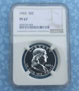 1963 Ngc Pf 67 Franklin Silver Half Dollar Gem Proof 67 Silver 50-cent Coin