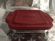 ❤️anchor Hocking Ovenware Square Baking Dish 8x8x2.25 Clear Glass 2 Qt Red Lid