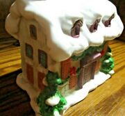 Lighted Ceramic Decorated Christmas House Snow Covered Winter Scene Trees 516