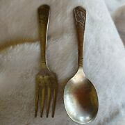 Vintage Imperial Silver Plate Baby Fork And Spoon Set