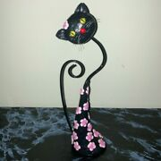 Black Cat- Rare Textured With Green Eyes And Flowers Clay And Metal Figure Sculpture