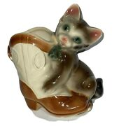 Royal Copley Cat Kitten With Cowboy Boot Planter Windsor Spaulding Pottery 1950s