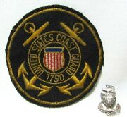 Vtg United States Coast Guard Patch And Sterling Cap Pin World War Ii Wwii Ww2 Lot