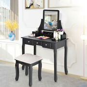 Vanity Set With Mirror And Cushioned Stool Dressing Table Vanity Makeup Table Hot