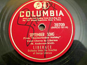 Liberace 78 Rpm Autographed September Song / I Want My Mama Columbia 39709 G+