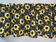 Sunflowers Bees Floral Valance Curtain Living Room Sun Porch Patio Bedroom
