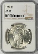 1925 Peace Silver Dollar 1 Ngc Ms65