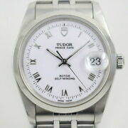 Tudor Date 74000n Menand039s Used Watch Automatic White Roman Dial Ec