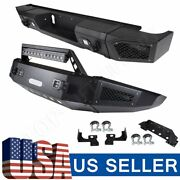 For Chevy Silverado 2500 15-17 Rear+front Bumper Steel Textured+led Lights