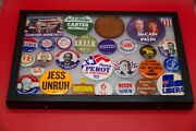 Collection Of Vintage Political Campaign Buttons In Display Case W/glass Cover