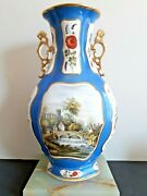 Stunning Antique Davenport Floral Twin Handled Vase Early 19th C. 16 H