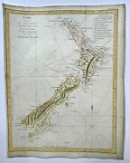 New Zealand 1774 Travel Of Cook Very Large And Unusual Antique Map 18th Century