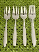 New 4 Cambridge Crescent Salad Forks Stainless Flatware Frosted Handle China