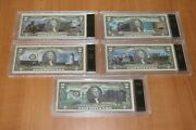 Uncirculated 2 Two Dollar Presidential Note Set Of 5