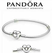 Original Pandora Moments 925 Sterling Silver Heart Clasp Snake Chain Bracelet
