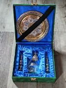 Egyptian Glass Perfume Bottles And Diffuser With Daubers Brass Platter Wall Decor
